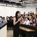 Female speaker, Ms Sharon Au, shares her entrepreneurship journey with students during forum
